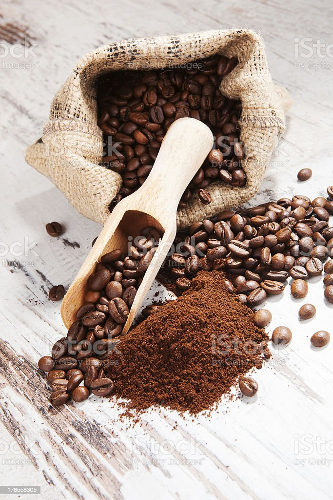Delicious rustic coffee background. stock photo