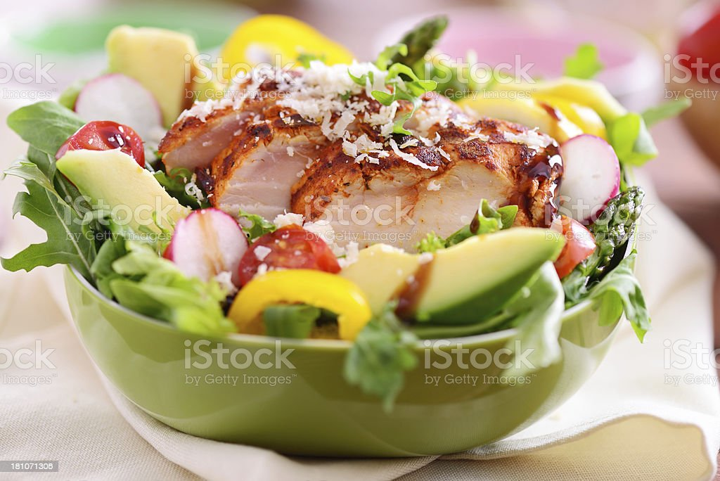 Delicious salad with grilled chicken slices royalty-free stock photo