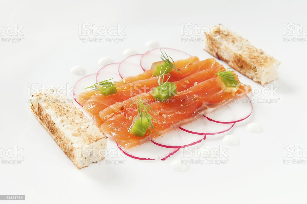 Delicious salmon fillet on a plate. royalty-free stock photo