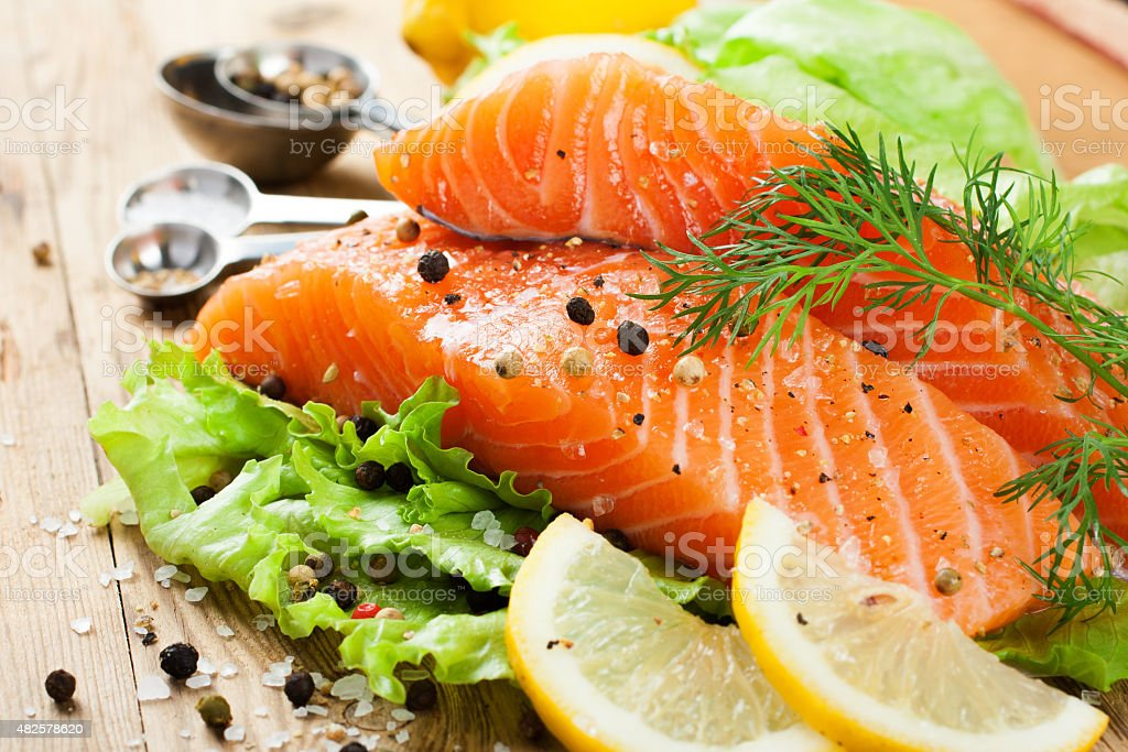 Delicious salmon fillet, rich in omega 3 oil stock photo