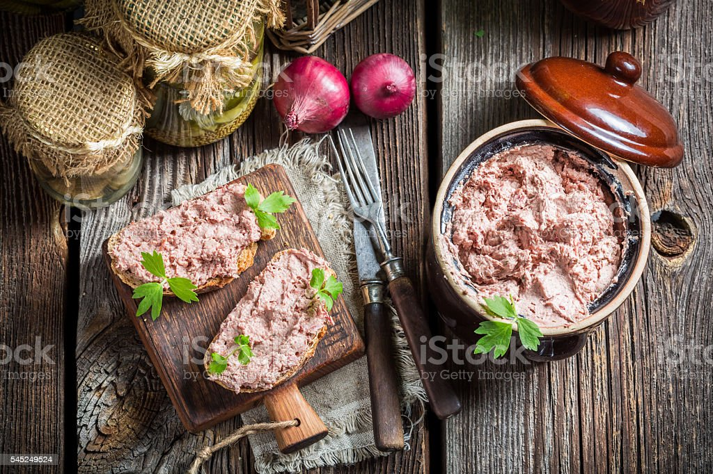 Delicious sandwich with pate and parsley stock photo