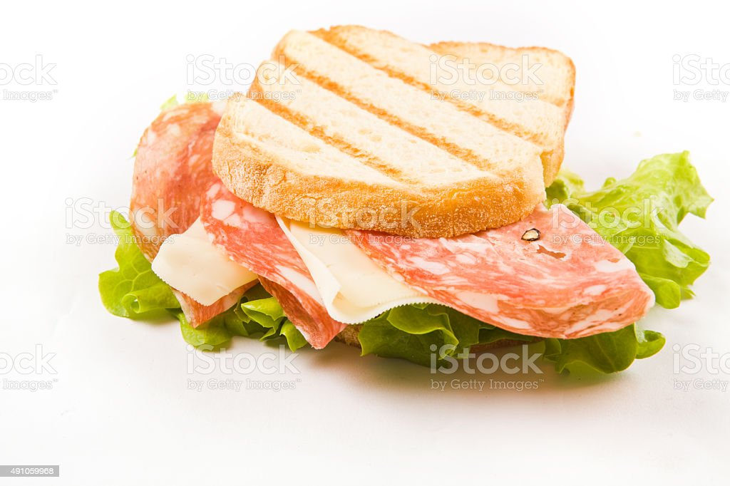 Delicious Sausage Cheese Sandwich stock photo
