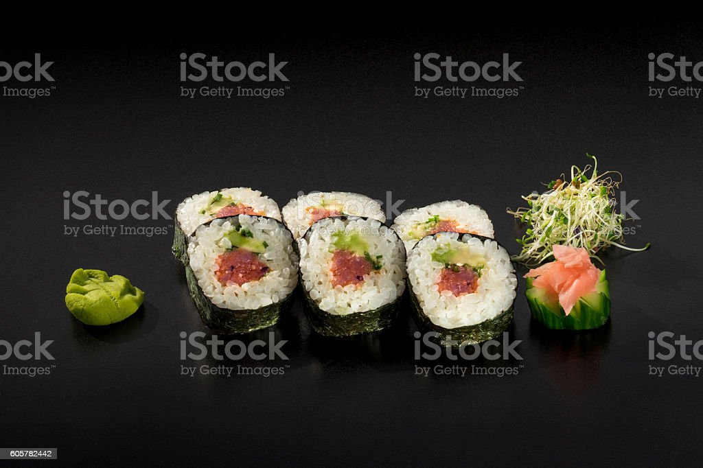 delicious set sushi rolls with tuna and avocado stock photo