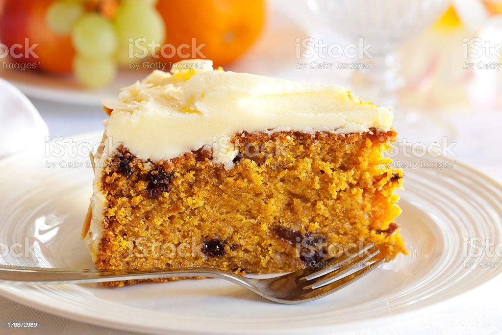 Delicious slice of carrot cake on white desert plate stock photo