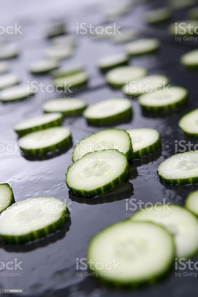 Delicious slices of cucumber royalty-free stock photo