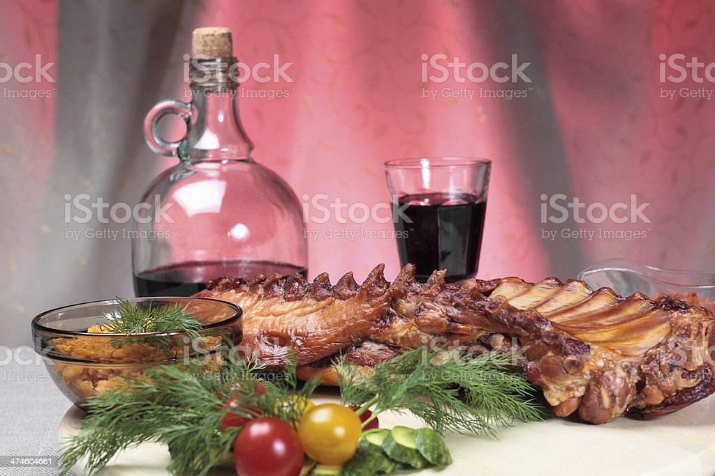 Delicious smoked ribs royalty-free stock photo