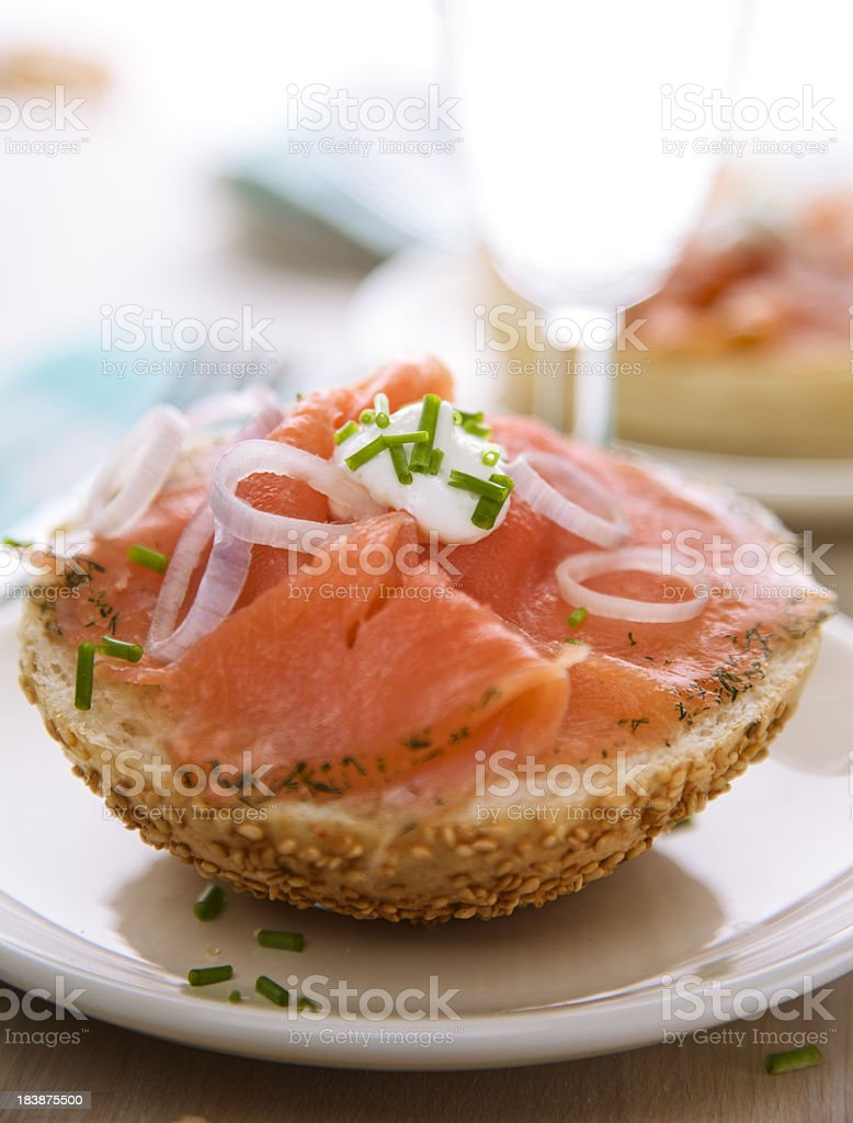 Delicious Smoked Salmon on a Bagel stock photo