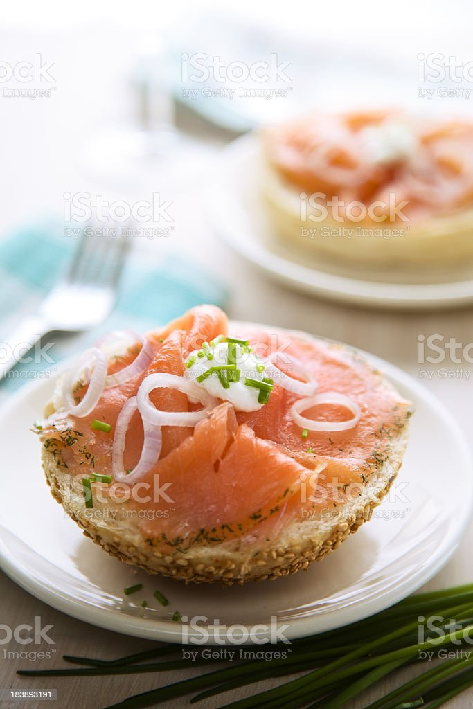 Delicious Smoked Salmon on a Bagel royalty-free stock photo