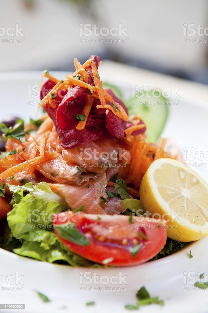 Delicious smoked salmon salad royalty-free stock photo