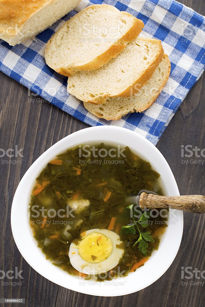 Delicious soup with sorrel royalty-free stock photo