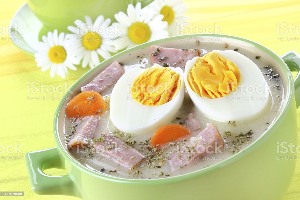 Delicious sour soup with egg royalty-free stock photo