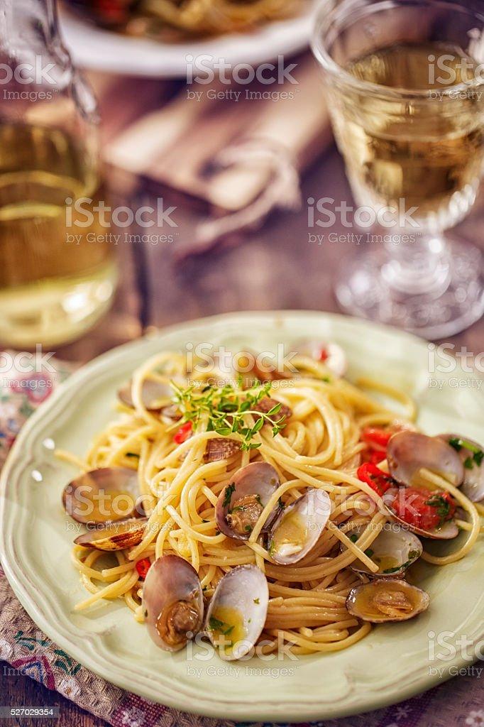 Delicious Spaghetti alla Vongole Served on a Plate stock photo