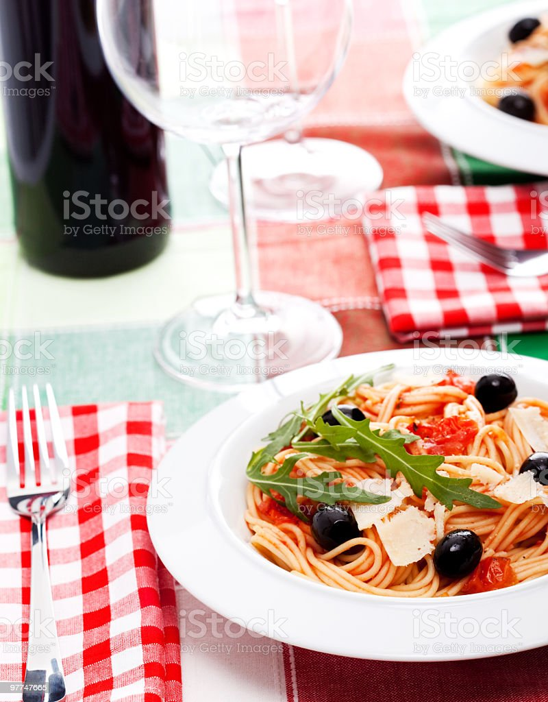 Delicious  Spaghetti Puttanesca royalty-free stock photo