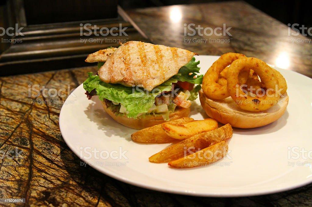 Delicious steak burger stock photo