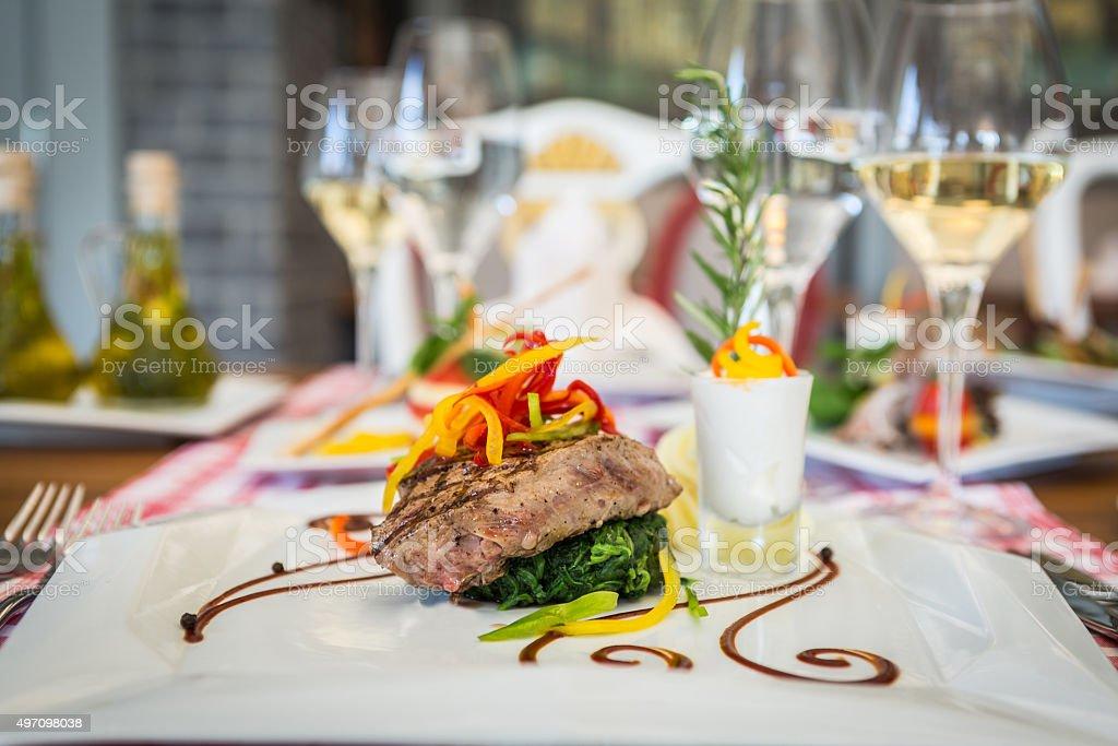 Delicious steak stock photo
