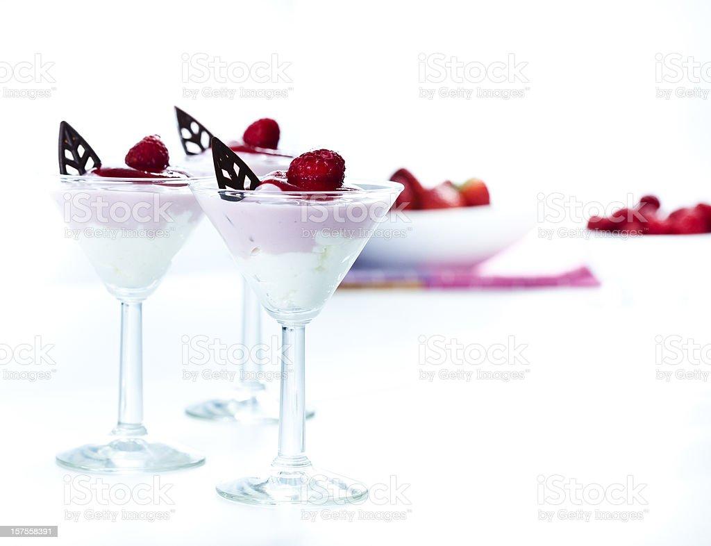 Delicious strawberry and yogurt mousse dessert stock photo