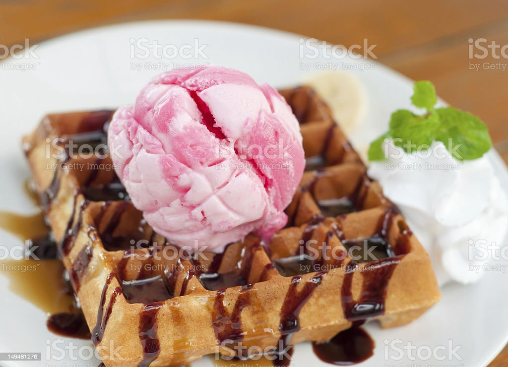 delicious strawberry ice cream stock photo