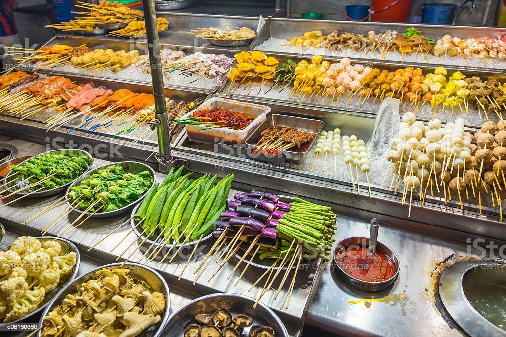 Delicious street food on night market stall Kuala Lumpur Malaysia stock photo