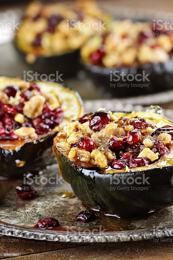 Delicious Stuffed Acorn Squash stock photo