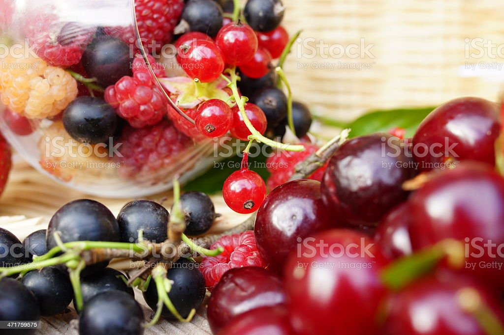 Delicious summer berries: cherry, raspberry, currant royalty-free stock photo