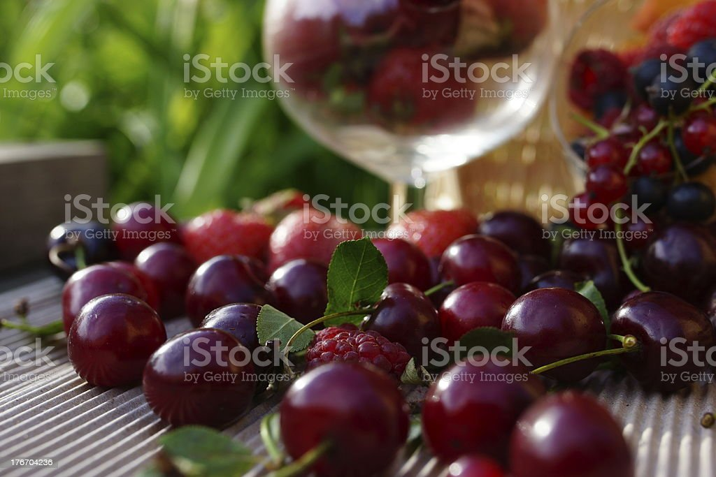 Delicious summer berries: Cherry, Strawberry, Raspberry, Currant. royalty-free stock photo