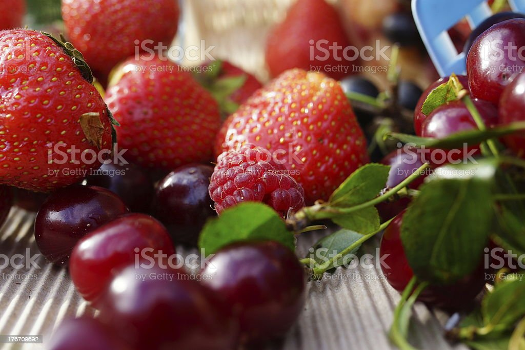 Delicious summer berries: cherry, strawberry, raspberry, currant royalty-free stock photo
