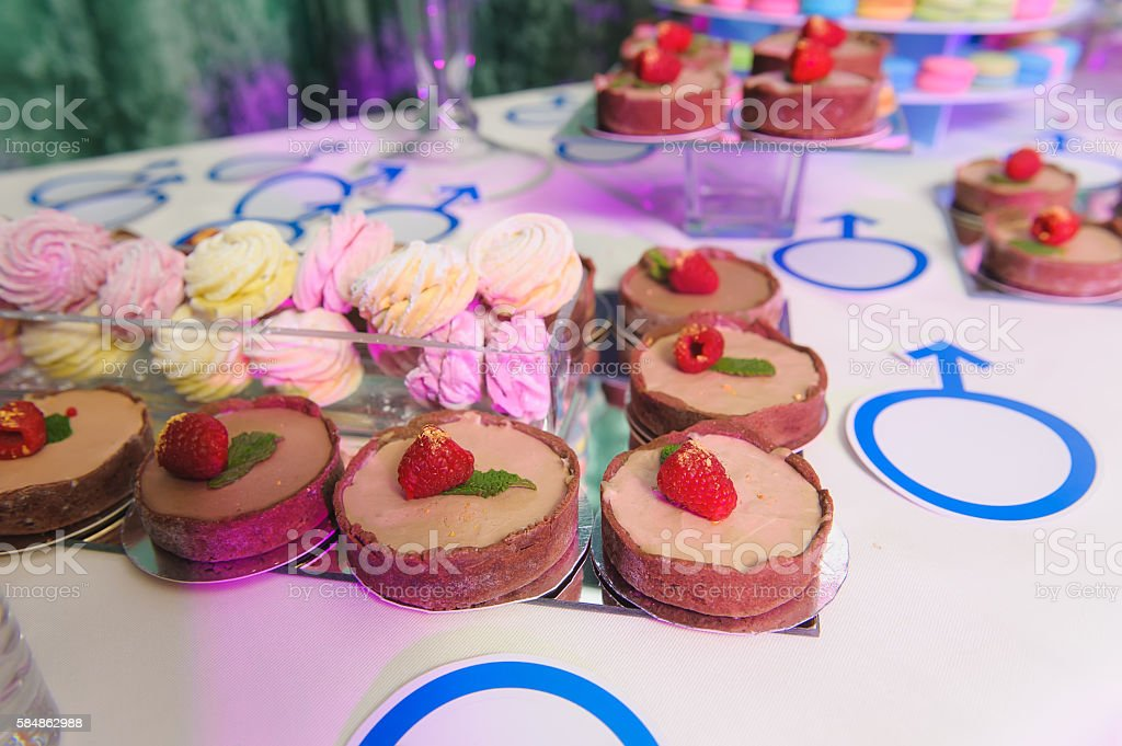 Delicious sweets on candy bar stock photo