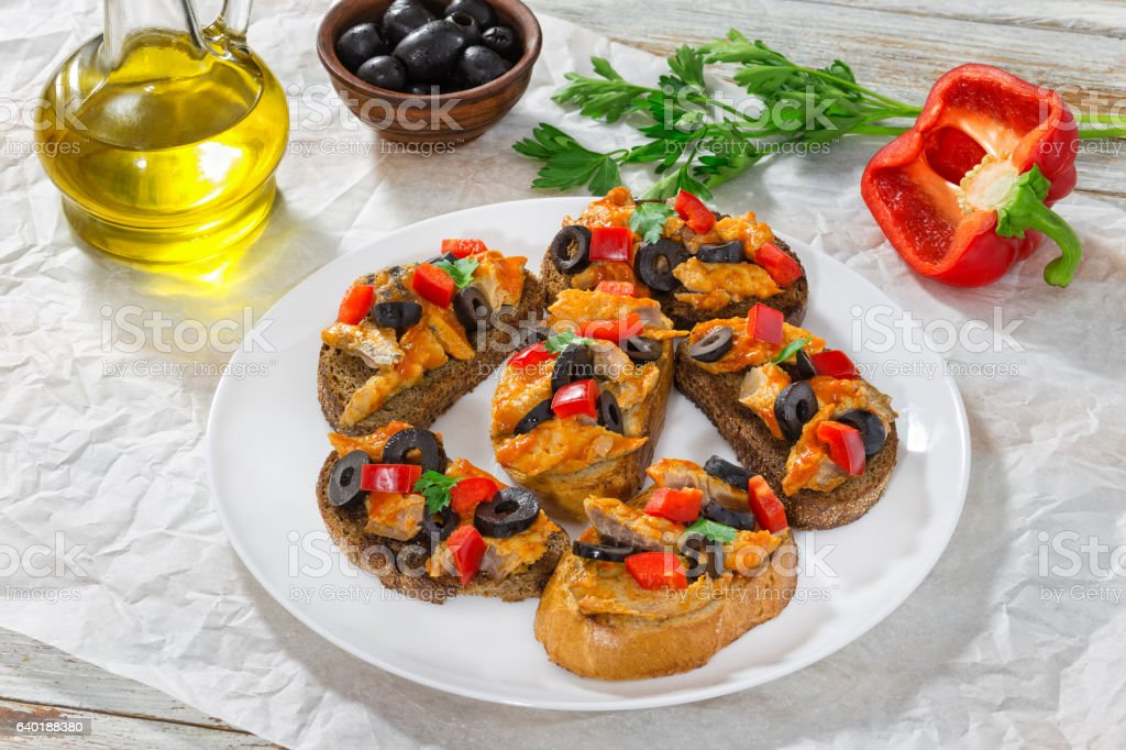 delicious tapas with pieces of mackerel fish stock photo