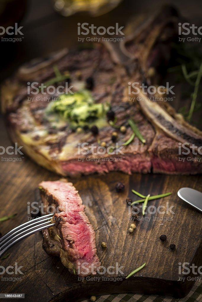 Delicious T-Bone Steak Medium Roasted stock photo