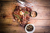 Delicious T-Bone Steak with Butter and Seasonings