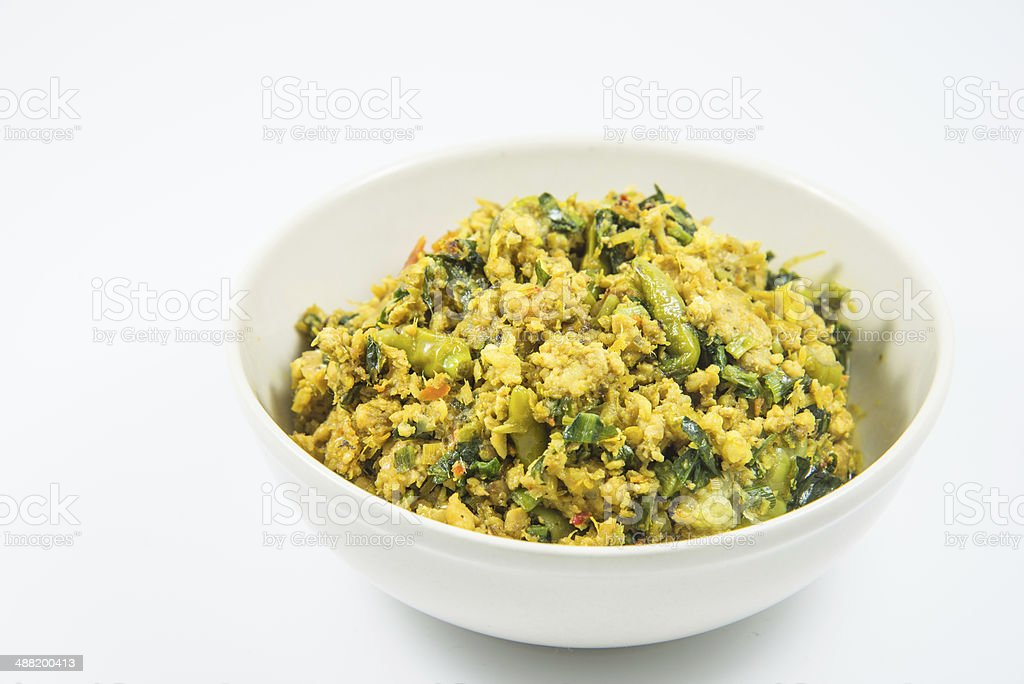 delicious thai food: yellow curry in a white bowl royalty-free stock photo