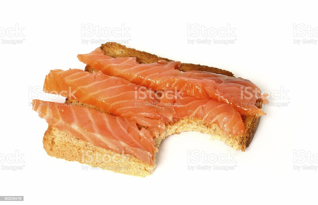 delicious toast with smoked salmon #2 royalty-free stock photo