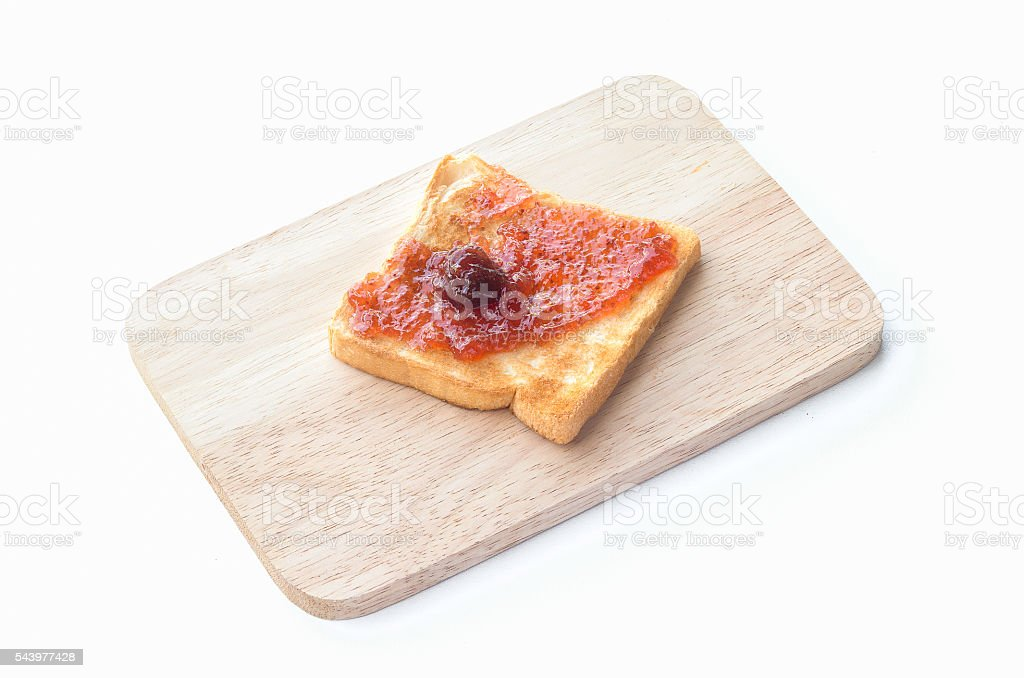 Delicious toasts with strawberry jam stock photo