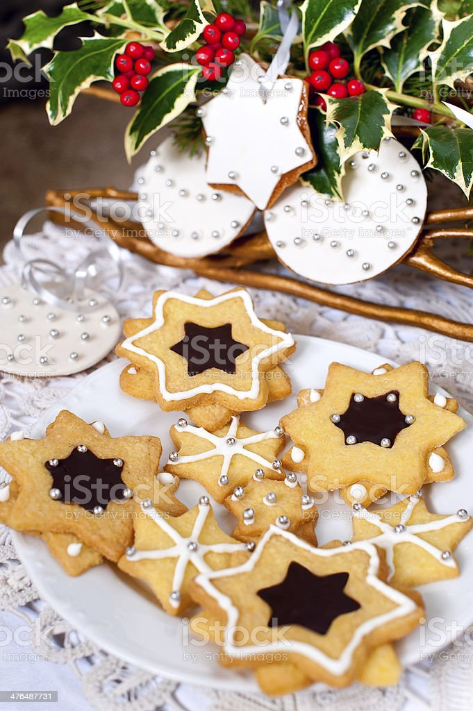 Delicious traditional Christmas cookies royalty-free stock photo