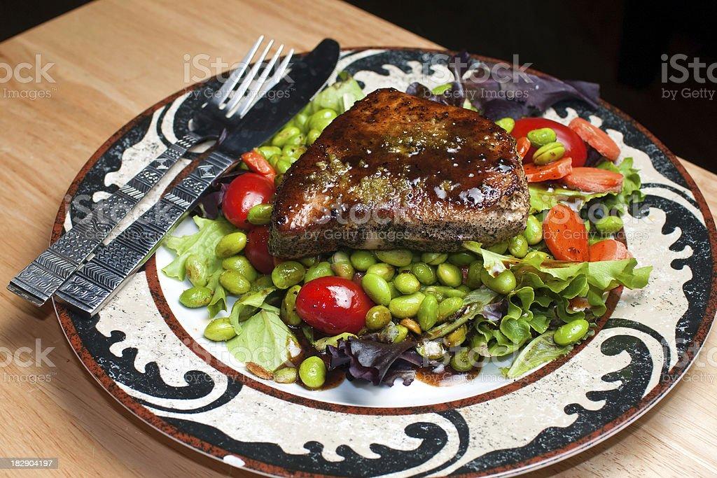 Delicious Tuna steak salad royalty-free stock photo