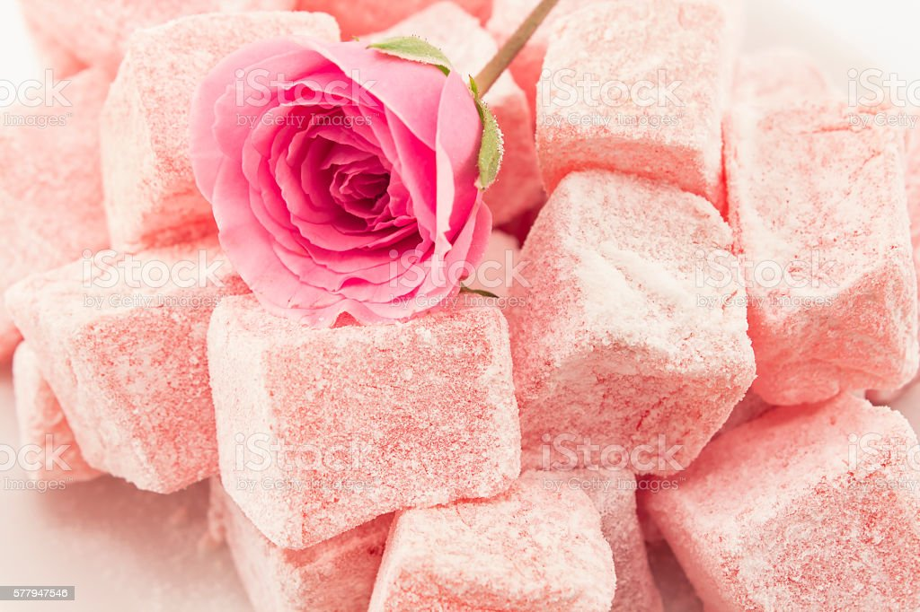 Delicious Turkish Delight of Roses stock photo