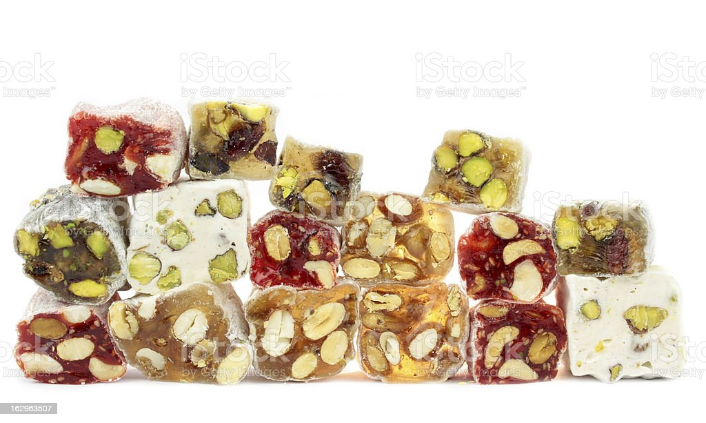 Delicious Turkish delight with nuts stock photo
