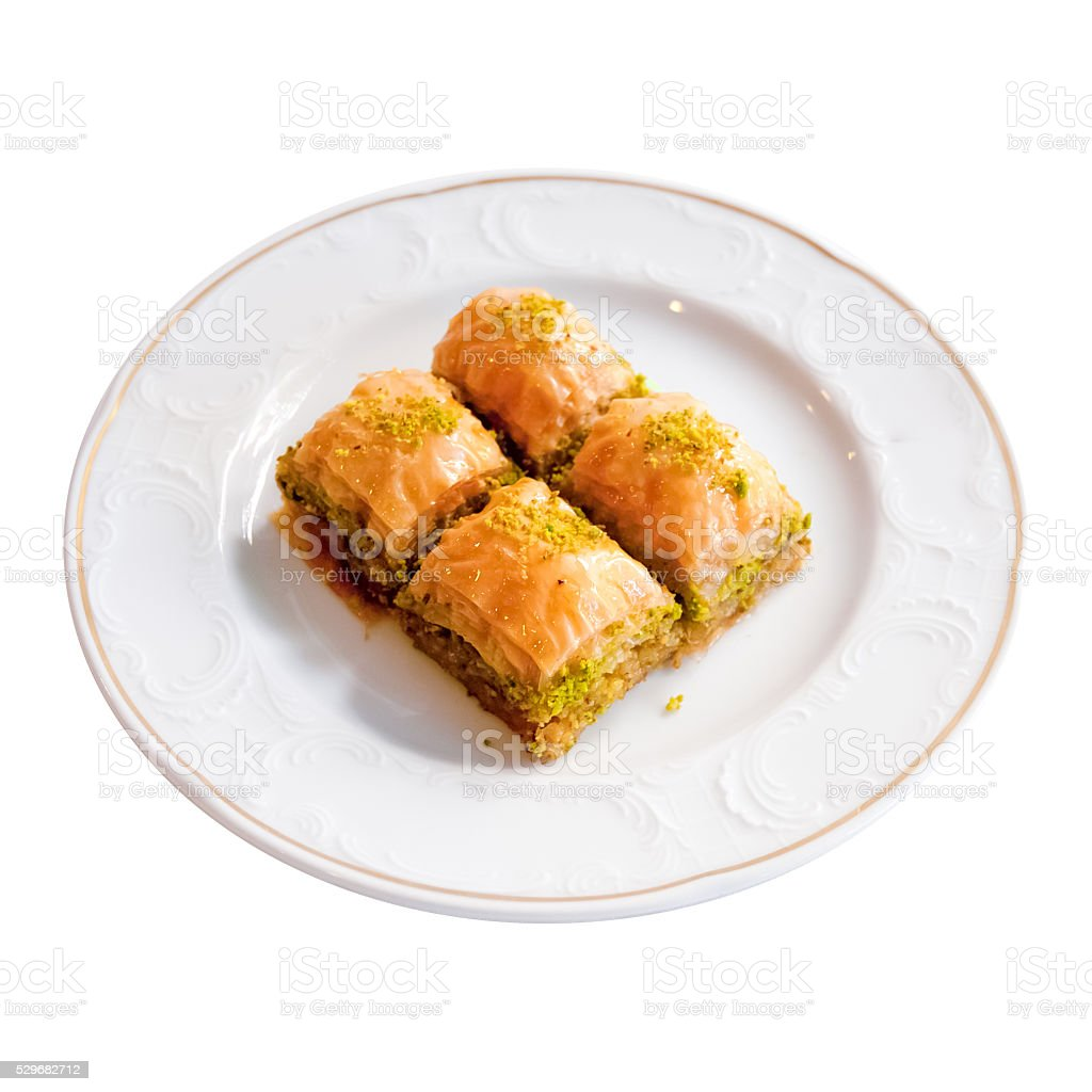 Delicious Turkish Dessert Baklava on a White Background stock photo
