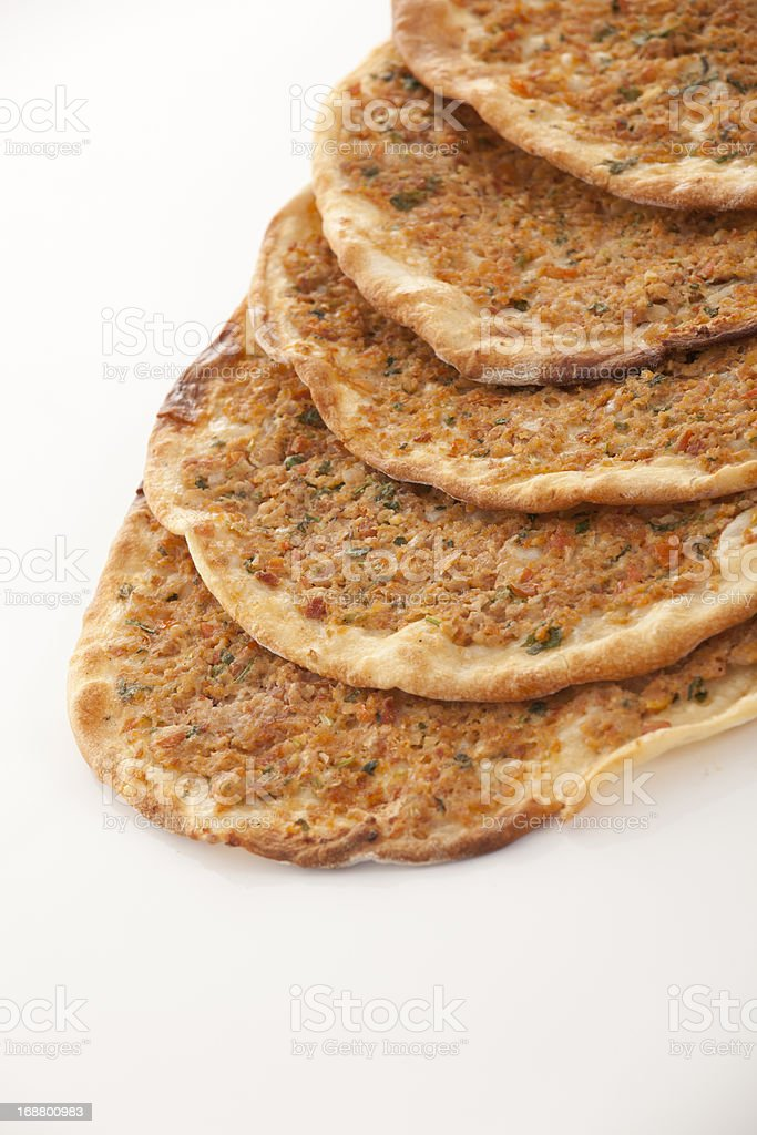 Delicious Turkish pizza lahmacun royalty-free stock photo