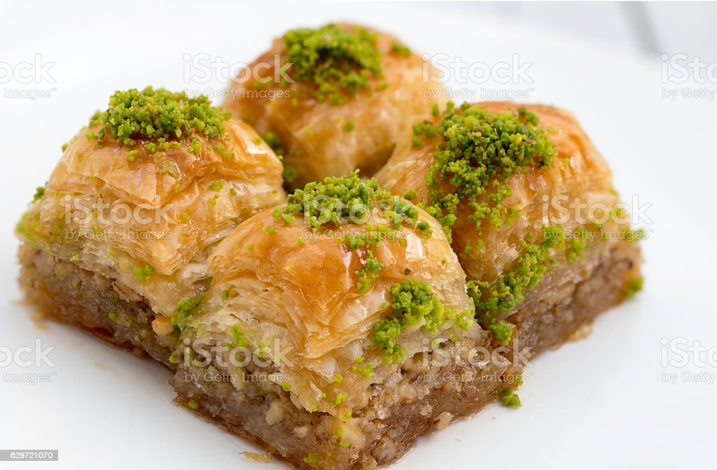 Delicious Turkish/Arabic dessert baklava with pistachio stock photo