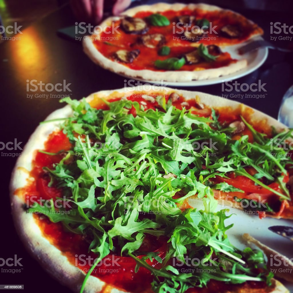 Delicious vegan italian pizza stock photo