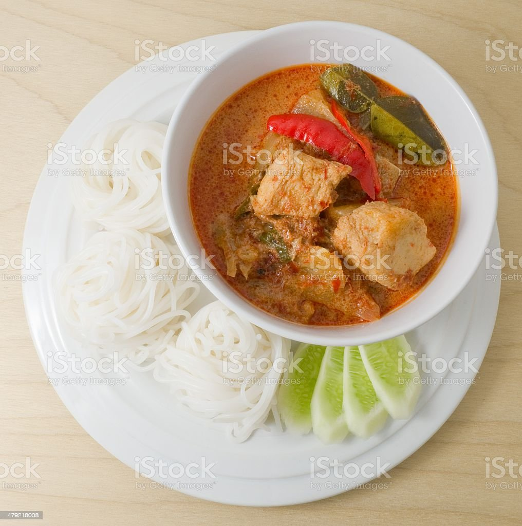Delicious Vegan Red Curry with Rice Vermicelli stock photo