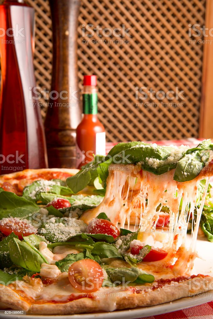 delicious vegetable pizza top view stock photo