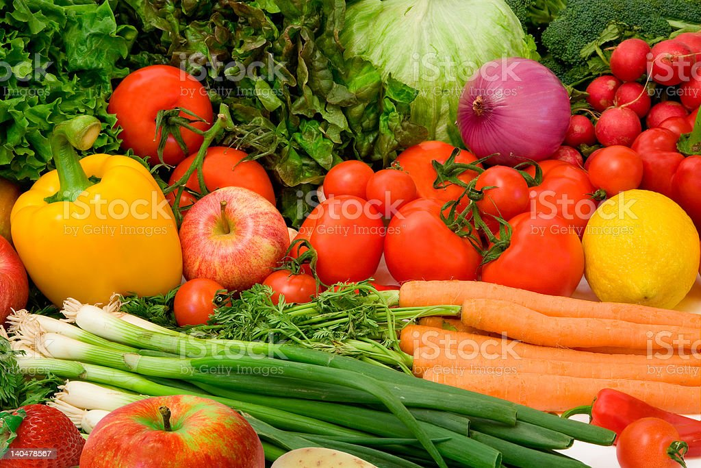 Delicious Vegetables and Fruits royalty-free stock photo