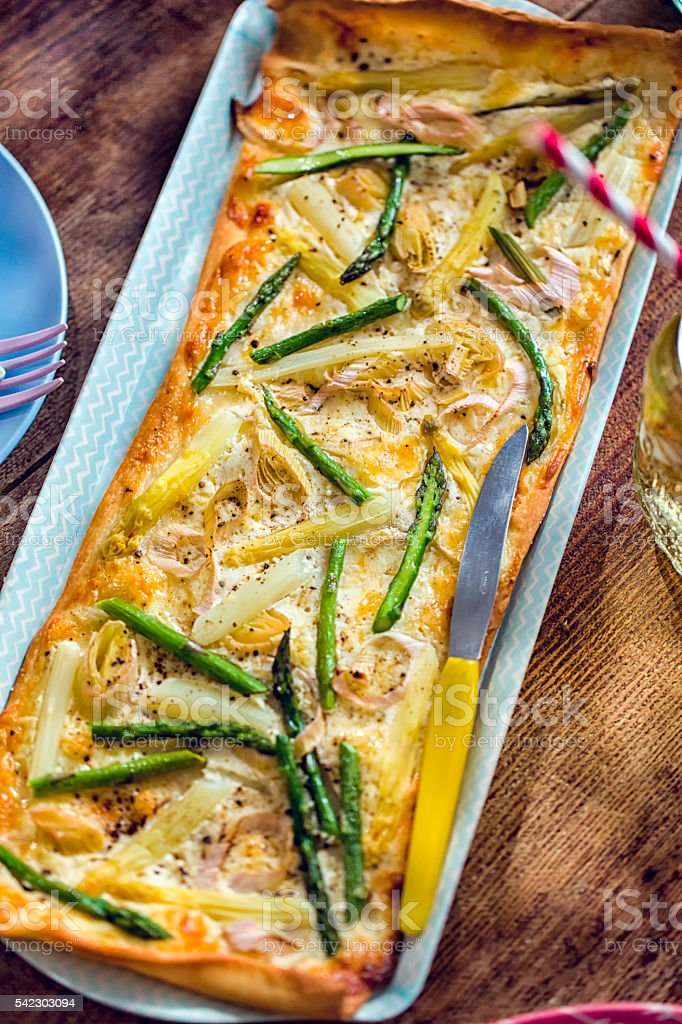 Delicious Vegetarian Asparagus Tart stock photo