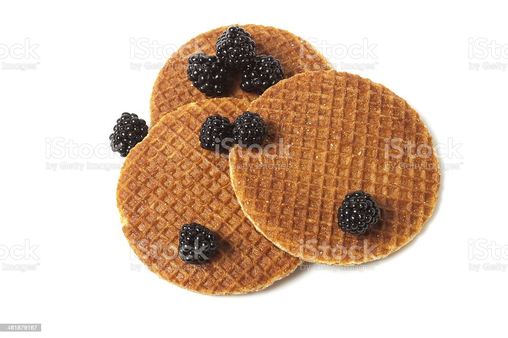 delicious waffles and blackberries royalty-free stock photo