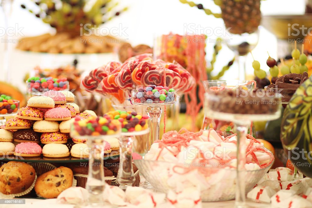 Delicious wedding table stock photo
