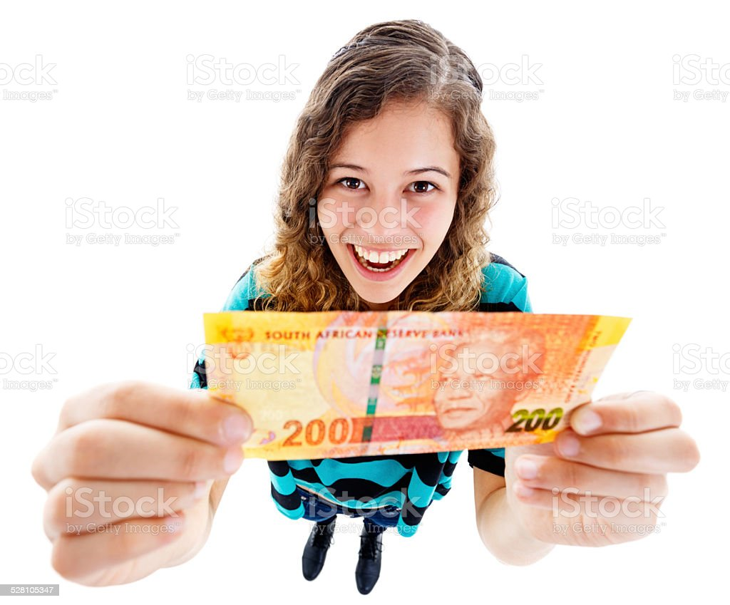 Delighted young beauty holding up Two Hundred Rand banknote stock photo