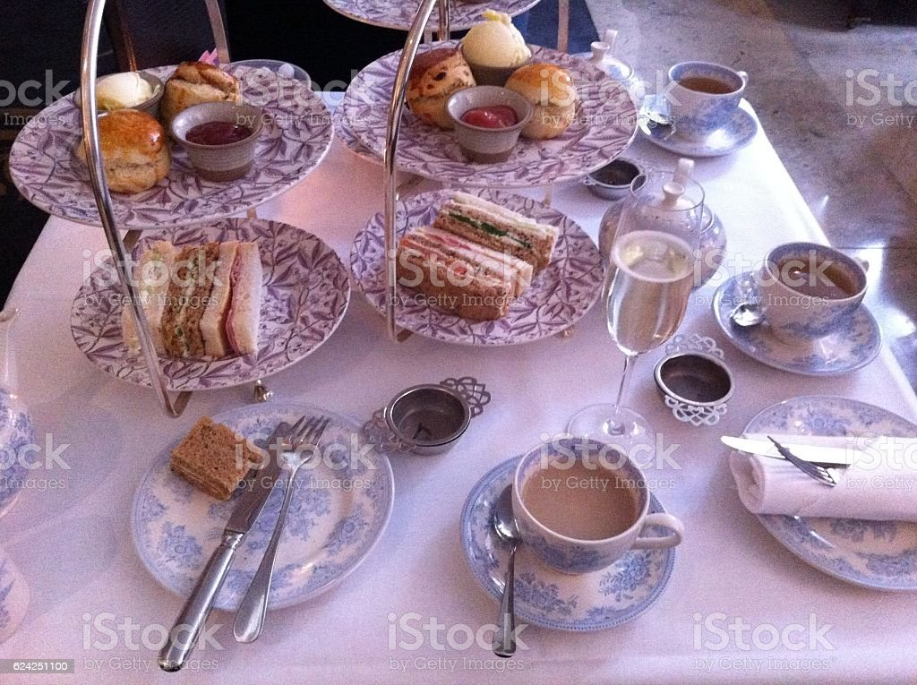 Delightful afternoon tea stock photo