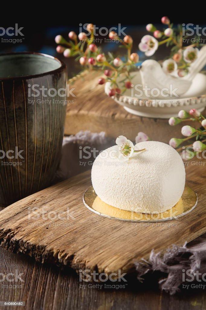 Delightful, luxury mousse cake in the form heart. Valentine's Da stock photo